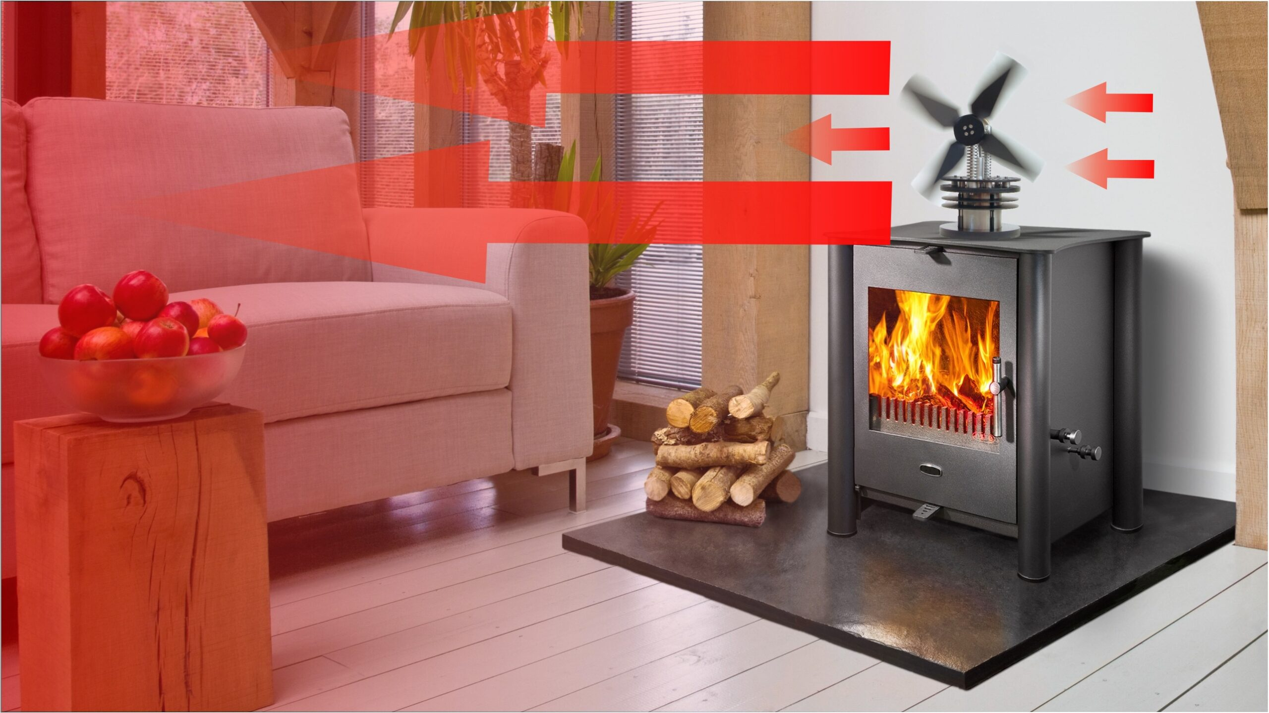 Using heat generated from your wood stove, a stove fan will circulate the warm air throughout your room. Stirling engine stove fans are extremely powerful and able to move large volumes of air. This saves on fuel and makes your home more comfortable.