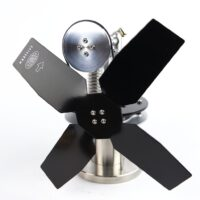 Small stove fan with complex design. Use on any heat source -woodburner, multi-fuel stove. Manufactured by Warpfive Fans