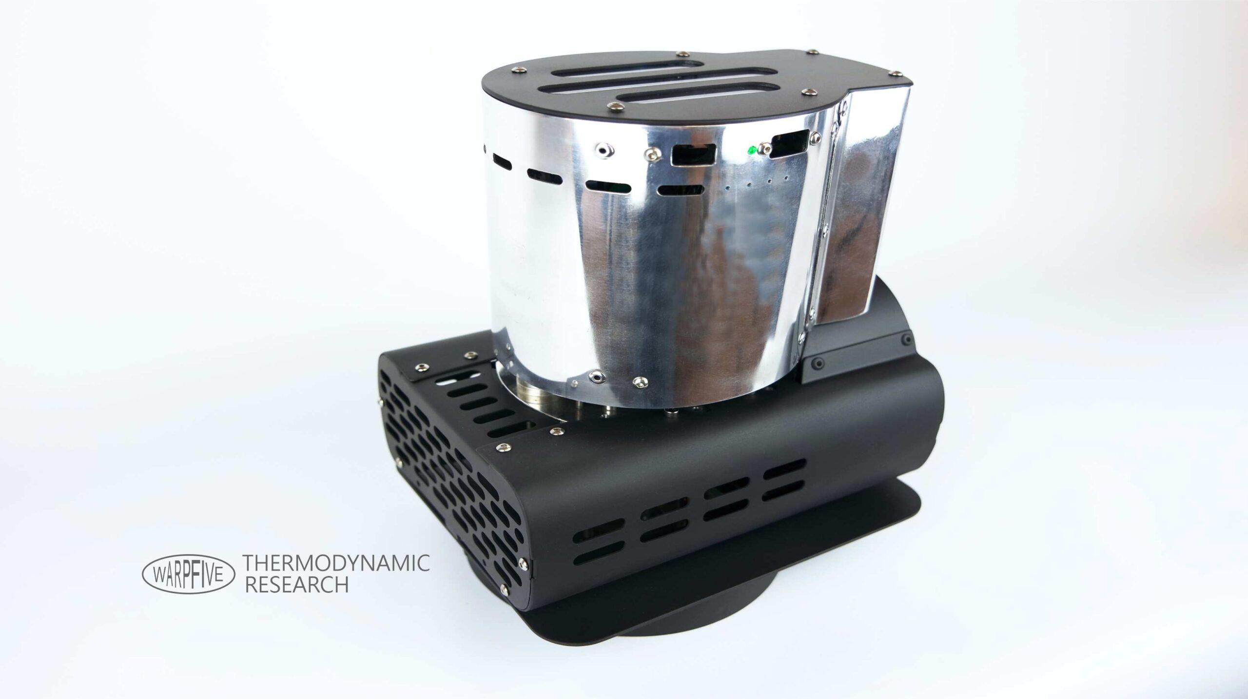 Warpfive experimental single cylinder Stirling engine air-cooled generator