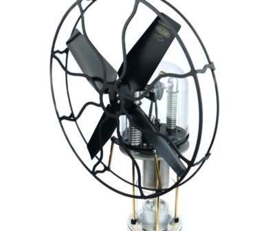 Collectible Stirling engine table fan with alcohol burner